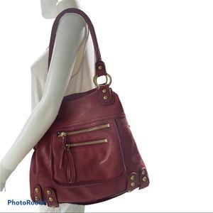 Linea Pelle Dylan Red Leather Tote Shoulder Bag